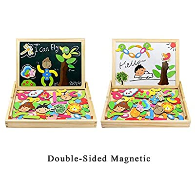 Fajiabao Wooden Educational Toys, Double Side Magnetic Cute Animal Jigsaw Puzzle Drawing Board, Early Learning Games Birthday Easter Gifts for Kids Boys Girls, Multiple Themes, Random Delivery: Toys & Games