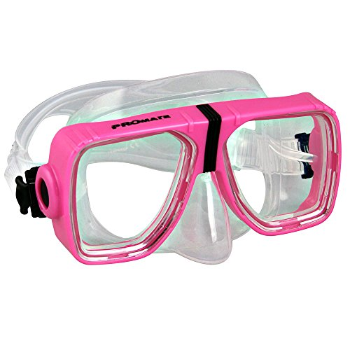 Promate Different Optical Corrective Lens on Each Side Snorkel Mask, Pink