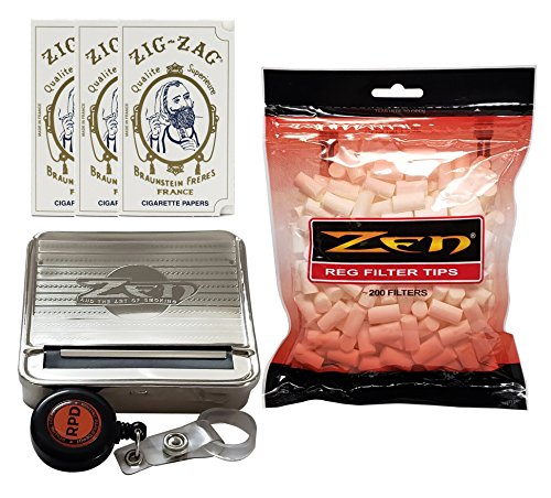 (Zig Zag White Rolling Papers (3 Packs) with Zen Automatic Roll Box, Zen Cigarette Filters and Rolling Paper Depot Lighter Lasso - 6 Item Bundle)