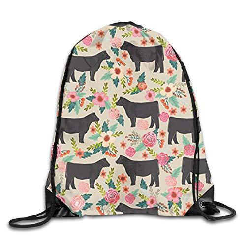 Show Steer Cows Farm Barn Florals Design Men & Women Fashion Backpacks Shoulder Bag Laptop Backpack,Sport Gym Sackpack Drawstring Backpack Bag]()