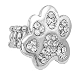 Gypsy Jewels Paw Print School Spirit Mascot Silver Tone Rhinestone Stretch Ring - Assorted Colors (Clear Silver Tone)