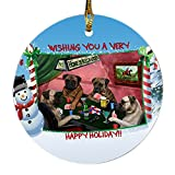 Home of Bullmastiff 4 Dogs Playing Poker Photo Round Christmas Ornament