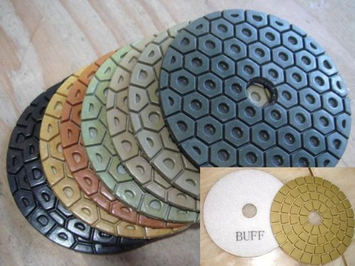 4 Inch 100mm Diamond Granite Polishing Pads 18 Pieces PLUS Professional Glaze Buffing Pad (brings mirror like polished effect) = 19 Pieces Best Quality Best Value Concrete Marble toolsmart