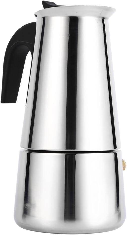 Coffee Maker, Stainless Steel Moka Coffee Pot Percolator Stovetop Espresso Latte Maker Percolator Stove Top Filter Coffee Maker Pot Easy Clean (300ML 6 Cup)