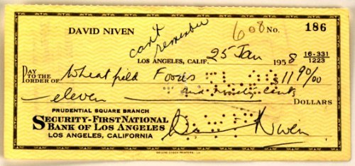 David Niven Autograph - Signed Personal Check - Dated 01/25/1958 - Very Rare Document - Collectible - Casino Royale/Bishops Wife from Bamber