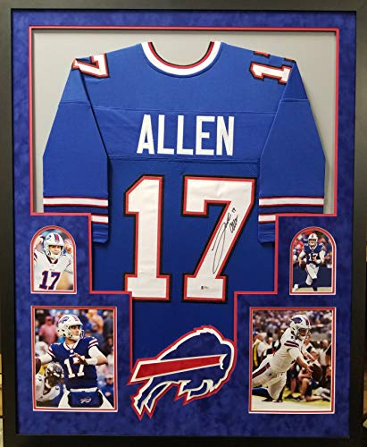 Josh Allen Buffalo Bills Signed Autographed Custom Framed Jersey Blue Suede Matted 4 Picture Beckett Witnessed Certified