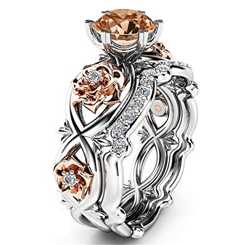 Bookear Women Silver & Rose Gold Filed White Wedding Engagement Floral Ring Set (Multicolor 5) ()