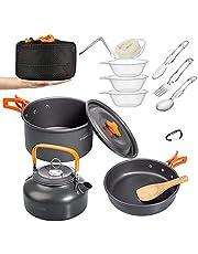 OVERMONT Zestaw naczyń kempingowych do gotowania na świeżym powietrzu, zestaw naczyń do gotowania, naczynia do grilla, piknik, garnek z dzbankiem do kawy, dzbanek na herbatę, aluminium