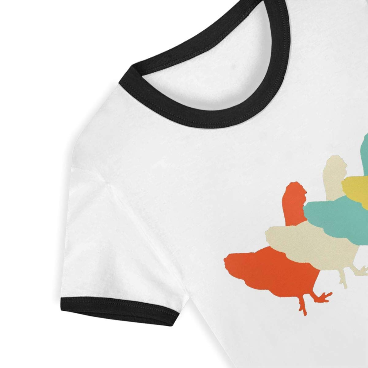 Kids T-Shirt Tops Retro Art Chicken Unisex Youths Short Sleeve T-Shirt
