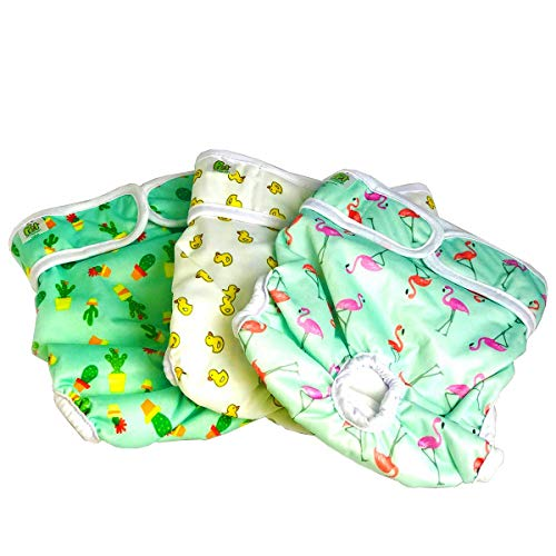 Pet Magasin Reusable Dog Diapers Sanitary Wraps, 3-Pack, Trending, Large
