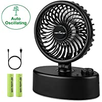 KEYNICE Desk Fan Auto Oscillating Table Personal Fans USB Rechargeable Operated Portable Fan, Power Wind Cooling Fan for Home, Office, Dorm, Traveling, Camping - Black