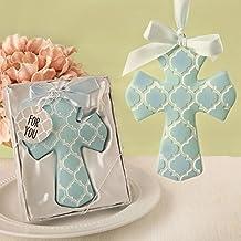 Blue Hampton Link Design Cross Ornament In A Fancy Favor Box , 36