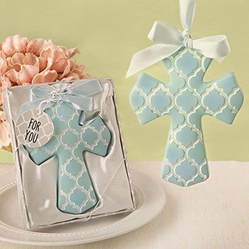 Fancy Favor Box (Blue Hampton Link Design Cross Ornament In A Fancy Favor Box , 36)