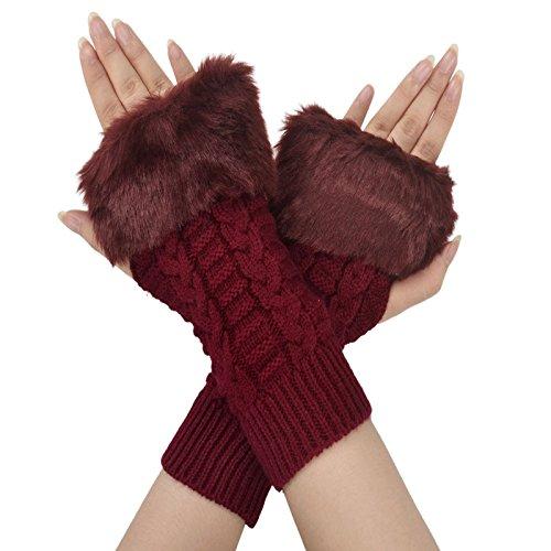 (Simplicity Winter Warmer Women Faux Knitted Hand Wrist Fingerless Gloves,)