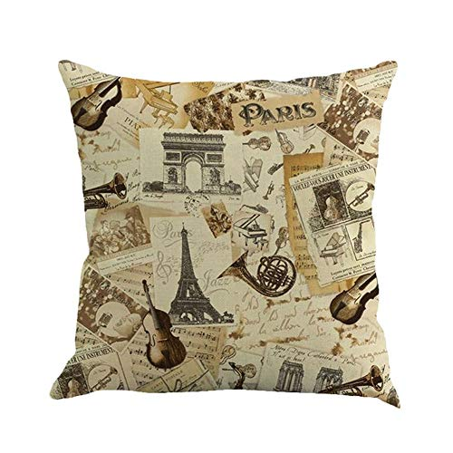 SPXUBZ Paris Triumphal Arch Eiffel Tower Music Trumpet Violin Decor Flax Throw Pillow Cover Home Decor Nice Gift Square Indoor Linen Pillowcase Standar Size (Two Sides)