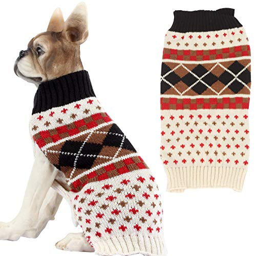 HAPEE Dog Sweaters,Pet Cat Clothes The Diamond Plaid Cat Dog Accessories, Dog Apparel Pet Sweatshirt