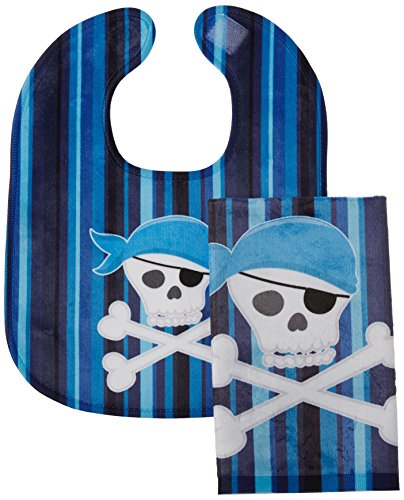 Caroline\'s Treasures Pirate Skull and Cross Bones Baby Bib & Burp Cloth, Multicolor, Large