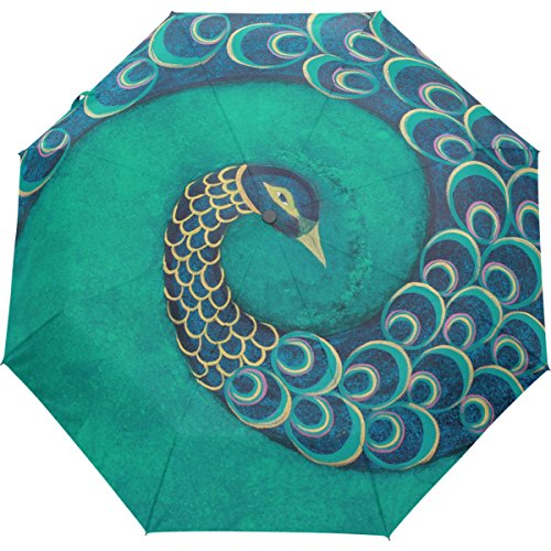 80838d1a81be Oil Painting Folding Windproof Umbrella Peacock Portable Travel Sun ...