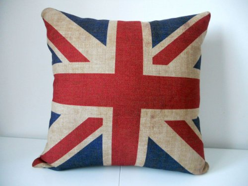 "Decorbox The Union Jack British Flag Cotton Linen Square Decorative Throw Pillow Case Cushion Cover 18 ""X18 """