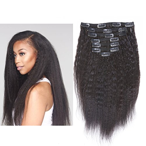 Beauty : Anrosa Afro Kinky Straight Clip ins Hair Extensions Human Hair Yaki Straight Hair Curly Clip in Hair Extensions for Black Women Color 1B Natural Black Natural Hair Thick Big Volume 120 Gram 12 Inch