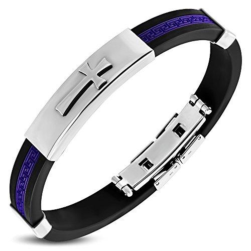 My Daily Styles Stainless Steel Black Purple Rubber Greek Key Cross Mens Bracelet, 8