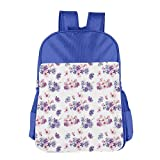 Haixia Kids Boy's&Girl's Backpack Watercolor Floral Pattern with Wedding Inspired Blossoming Nature Bridal Bouquet Decorative Lilac Lavender Pink
