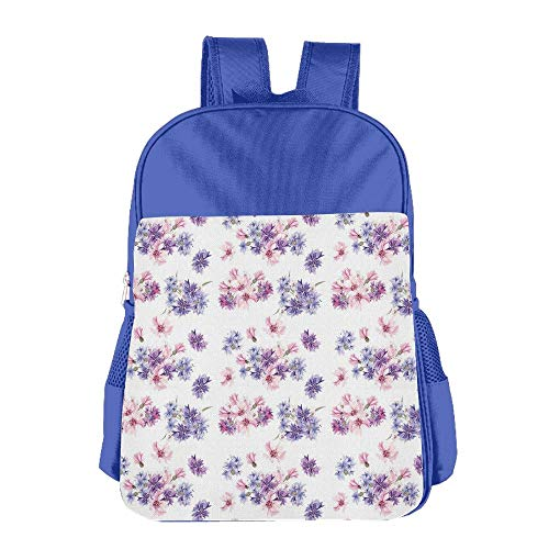 Haixia Kids Boy's&Girl's Backpack Watercolor Floral Pattern with Wedding Inspired Blossoming Nature Bridal Bouquet Decorative Lilac Lavender Pink by Haixia