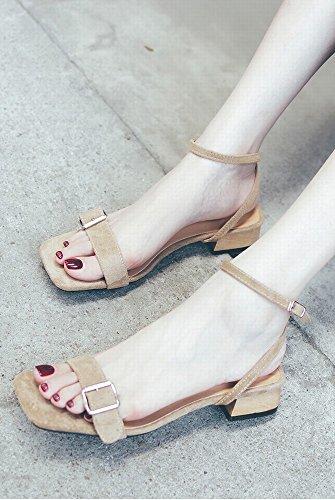 Zapatos de con DIDIDD Salvajes Simples Grueso Sandalias con Roma Albaricoque Hadas Y 38 Medio 04q64RY