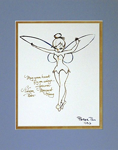 disney-autographed-tinker-bell-photo-rough-sketch-signed-by-original-reference-model-margaret-kerry-