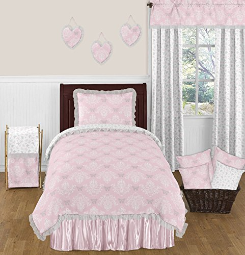 Pink, Gray and White Shabby Chic Alexa Damask Butterfly 4 Piece Girls Twin Bedding Set (Jojo Designs Satin Designer Blanket)