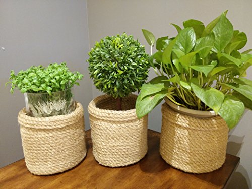 "Jute Planter Baskets -3 pcs- Jute Storage Baskets Storage Bin Plant Holders Flower Baskets Rope Basket Natural Fiber Basket, Plant Pot Cover Basket - Tuck a potted plant into this coiled basket for soft, textured contrast to glossy green leaves. ★ LIMITED TIME PROMOTION OFFER PRICE MAY INCREASE SOON ★ IMPORTANT: 6.75""DIAMETER x 6.75""HIGH , ships folded. LIMITED TIME OFFER PRICE MAY INCREASE SOON. Made from Jute, the Rope Baskets are durable and loose structured allowing you to manipulate their shape, perfect for desktop or garden pot plants. And the smart turned over cuff can be rolled up and down to change the height to suit your needs - living-room-decor, living-room, baskets-storage - 51Ct%2BXKrHCL -"