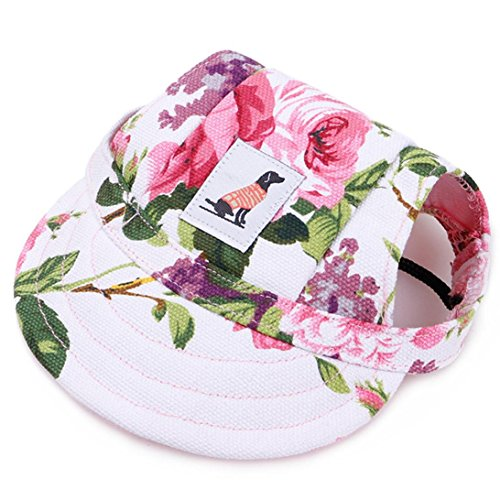 (YJYdada Dog Hat Dog Hat with Ear Holes Summer Canvas Baseball Cap for Small Pet Dog Outdoor (S, White))