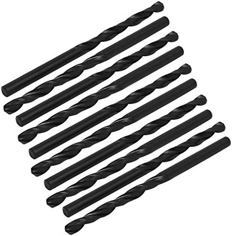 4mm Dia 75mm Long HSS Spiral Flute Straight Shank Twist Drill Bit Black 10pcs By MariaP