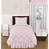 Pink, Gray and White Shabby Chic Alexa Damask Butterfly 4 Piece Girls Twin Bedding Set Collection