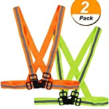 Genenic Reflective vest,Premium Reflective Vest Adjustable Reflective Gear For Running, Jogging, Walking, Cycling,Motorcycle in Early Morning and Night(2-pack)
