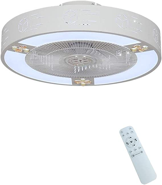 Zzxyxdd Ventilador de Techo Moderno con Base cilíndrica, Control Remoto, Montaje Empotrado, luz LED integrada, níquel Cepillado (Color : B): Amazon.es: Hogar