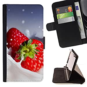 - Fruit Macro Creamy Strawberries - - Monedero PU titular de la tarjeta de cr????dito de cuero cubierta de la caja de la bolsa FOR Apple Iphone 5 / 5S RetroCandy
