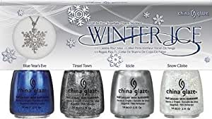 """China Glaze Lacquer Nail Polish, Winter Ice Gift Set and Free Snowflake Charm Necklace, """"Let It Snow"""" Holiday 2011"""