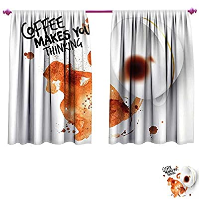 Coffee Art Blackout Window Curtain Thinking Monkey Animal with Fun Lettering and Inverted Coffee Cup Customized Curtains W55 x L39 Burnt Sienna Black White