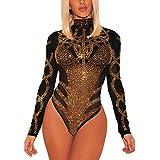 Gludear Women's Sexy Rhinestone Sheer Mesh Long Sleeves Bodysuits Clubwear,Black,M