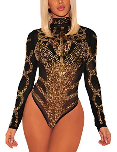 Gludear Women's Sexy Rhinestone Sheer Mesh Long Sleeves Bodysuits Clubwear,Black,L