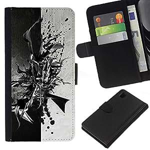 NEECELL GIFT forCITY // Billetera de cuero Caso Cubierta de protección Carcasa / Leather Wallet Case for Sony Xperia Z1 L39 // Negro abstracto en blanco y