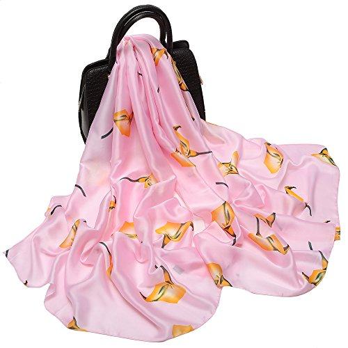 Silk Like Scarf Large Satin Headscarf Fashion Calla Wrap Neck Scarves for Women Pink