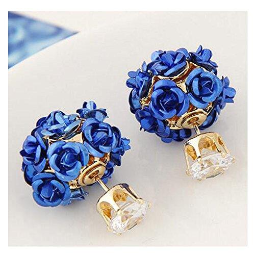 Luck Wang Woman's Unique Temperament Fashion Roses Rhinestone Earrings(Deep Bule) (Major Egyptian Gods)
