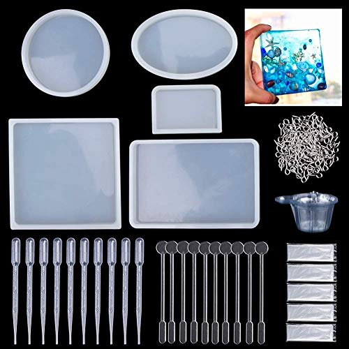 Resin Casting Molds, 145 Pcs Mold Tools Kit for Resin Crafts Including Silicone Oval Shape Paperweight Pendant Jewelry Casting Making Molds Set Kit,Screw Eye Pins,Disposable Plastic Cups,Stirrers
