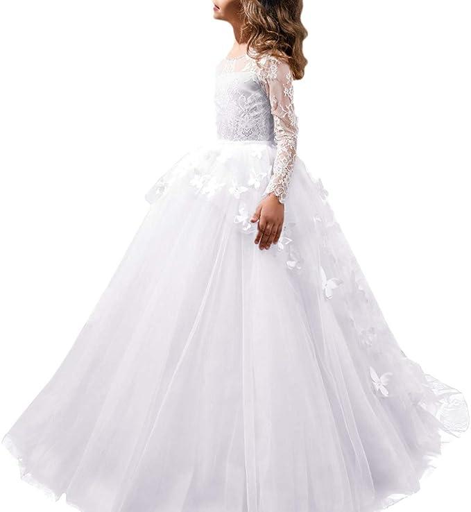 Vestiti Cerimonia Ragazza 13 Anni.Obeeii Vestito Bambina Cerimonia Elegante Maniche Lunghe In Pizzo