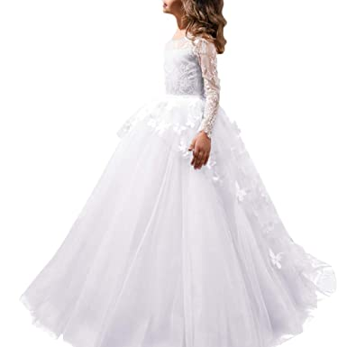 a18601855 FYMNSI Flower Girls Lace Butterfly Appliques First Communion Dress Long  Sleeves Princess Ball Gown Tulle Wedding