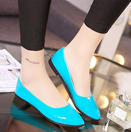 Shoes Office Ladies Women Slip Leather Jamicy Flat Casual On Blue qR8FHnB