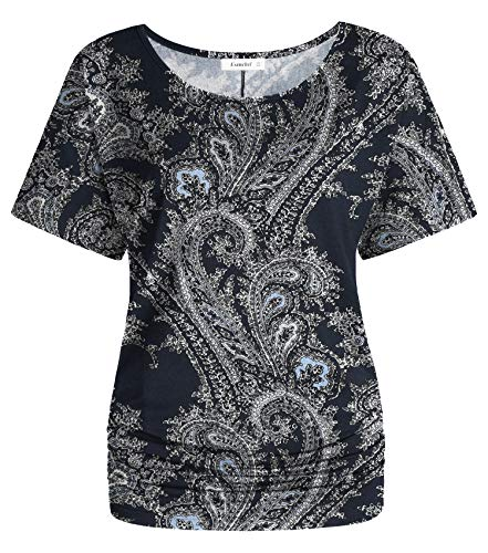 Esenchel Women's Short Sleeve Dolman Top Scoop Neck Drape Shirt XL Crack Paisley