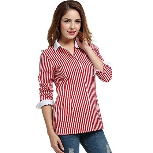 3/4 Sleeve Oxford Shirt (BELLE-LILI 3/4 Sleeve Stripe Cotton Button Down Collared Shirt(XL= US Size XL(16), Red))